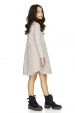 Beige Cotton Ribbed Dress