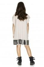 Beige Sequins Detail Dress