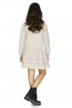 Beige Faux Lace-Up Detail Dress