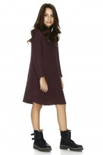 Burgundy Cotton Ribbed Dress