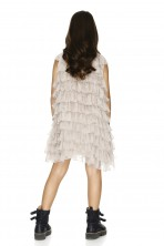Beige Ruffled Silk Dress