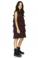 Burgundy Silk And Cotton Dress