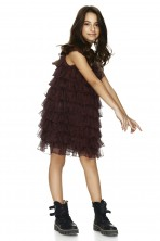 Burgundy Ruffled Silk Dress